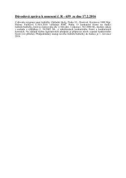 Důvodová zpráva k usnesení č. R - 659 ze dne 17.2.2016