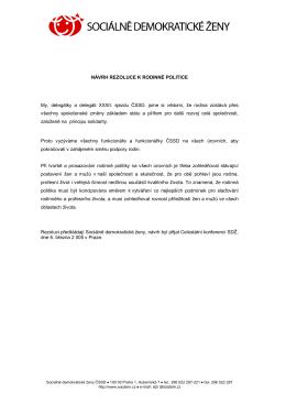 návrh rezoluce k rodinné politice
