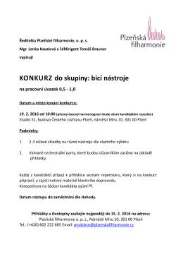 Člen skupiny bicí - Plzeňská filharmonie