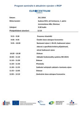Program semináře k aktuálním výzvám v IROP