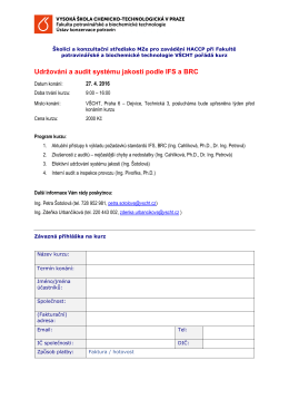 Udržování a audit systému jakosti podle IFS a BRC