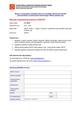 Manažer bezpečnosti potravin /HACCP