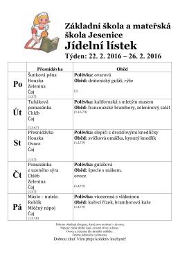 Jídelní lístek - Základní škola a mateřská škola Jesenice