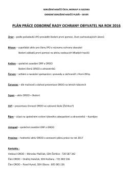plán práce ORCO - OSH Plzeň