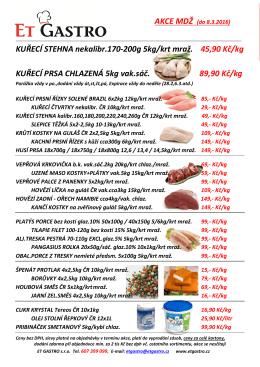 KUŘECÍ PRSA CHLAZENÁ 5kg vak.sáč. 89,90 Kč/kg