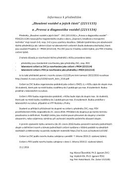 Informace k předmětům ZVC (2211133) a PDV