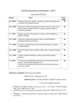 Klinická propedeutika a farmakologie
