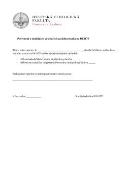 Potvrzení o studijních výsledcích za dobu studia na UK HTF