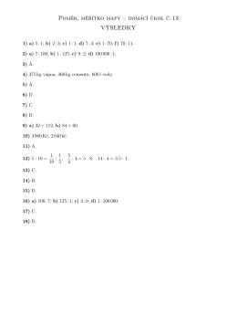Poměr, měřítko mapy – domácí úkol č. 13 VÝSLEDKY