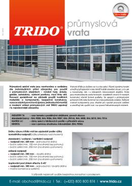 průmyslová vrata - Garážová vrata Trido
