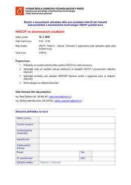 HACCP ve stravovacích službách