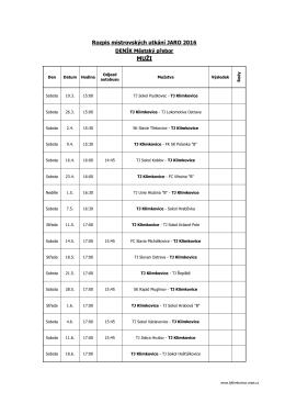 Rozpis mistrovských utkání MUŽŮ - JARO 2016