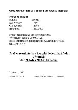 Prodej přebytečného majetku obce - valník za traktor