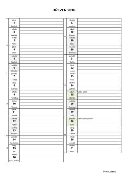 měsíční plánovací kalendář 2016 – březen – (dokument PDF)