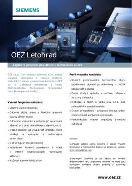 OEZ - stipendijní studentský program Firma OEZ Letohrad nabízí