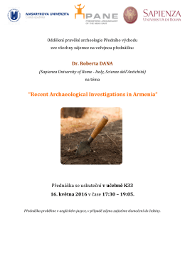 """Recent Archaeological Investigations in Armenia"""