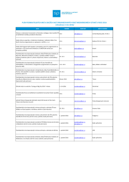 Plán podnikatelských misí a dalších akcí organizovaných Sekcí