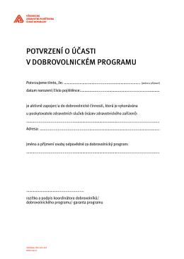 Potvrzení o účasti v dobrovolnickém Programu
