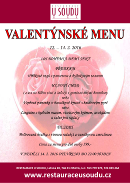 Valentýn 2016 - Restaurace U Soudu, Opava