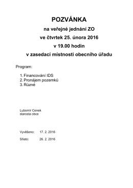 Pozvánka na jednání ZO 25.2.2016