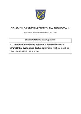 oznámení o zadávání zakázek malého rozsahu