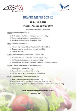 Jídelní lístek s menu 15. - 19. února 2016