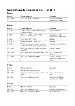 Kalendář závodů Hanácké oblasti – rok 2016