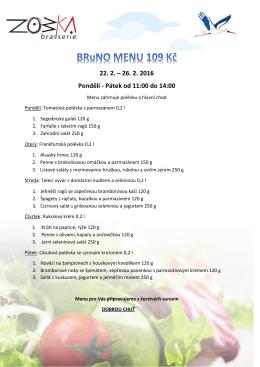 Jídelní lístek s menu 22. - 26. února 2016