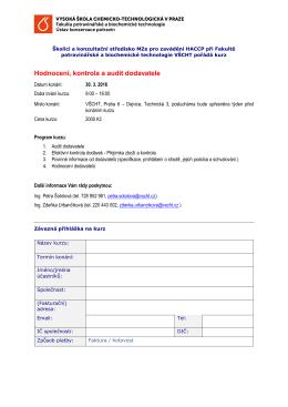 Hodnocení, kontrola a audit dodavatele