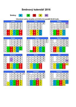 Směnový kalendář 2016