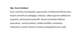 Mgr. Dana Forýtková