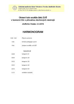 Harmonogram soutěže