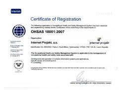 Internet Projekt, a. s. - ISO 18001:2007 (Intertek)