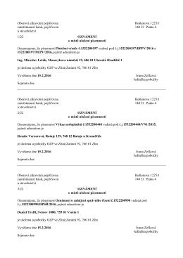 Pobočka Zlín - plátci pojistného fyzické osoby