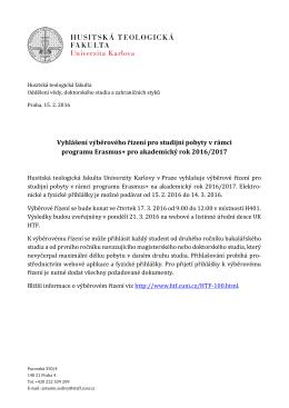 Vyhlášení výběrového řízení pro studijní pobyty v rámci programu