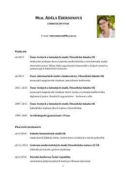 CV - Ústav řeckých a latinských studií