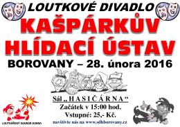Plakát Kašpárkův hlídací ústav 2016