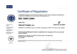 Internet Projekt, a. s. - ISO 14001:2004 (Intertek)