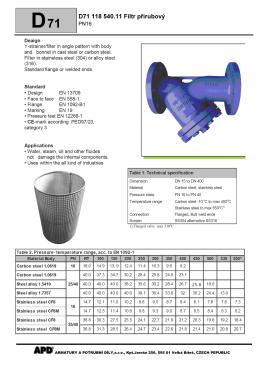 D71 118 540.11 Filtr přírubový - Armatury a potrubní díly, sro
