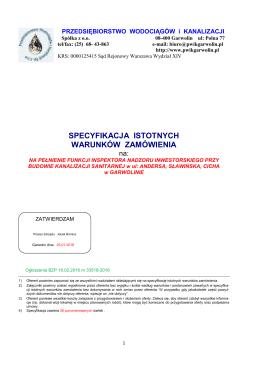SIWZ nadzór nad Kanalizacja sanitarną Andersa, Sławińska, Cicha.
