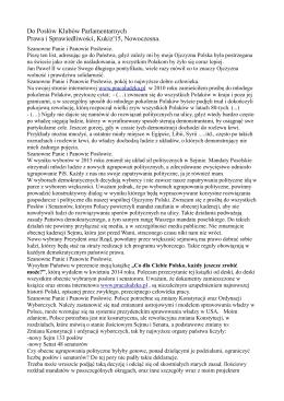 Pismo skierowane do Klubów Parlamentarnych PiS