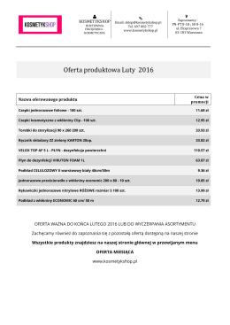 Oferta produktowa Luty 2016