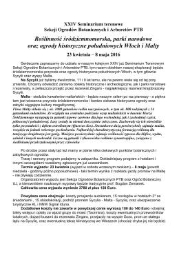 XXIV Seminarium terenowe Sekcji Ogrodów Botanicznych i