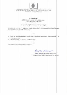 Uchwała nr 1 z dnia 13 stycznia 2016 r. w sprawie projektu