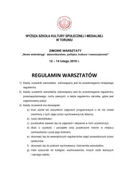 Pobierz Regulamin Warsztatów Zimowych 2016