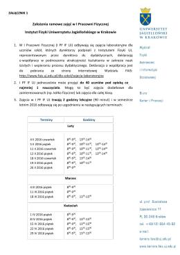 Załącznik 1 i 2 - Instytut Fizyki Uniwersytetu Jagiellońskiego