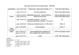 Plan zajęć Uniwersytetu Trzeciego Wieku 2015/2016 Poniedziałek