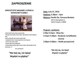 21 luty - Nadanie licencji katechetycznych