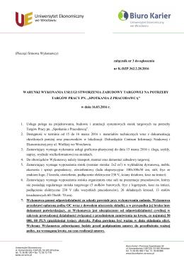 Warunki - zal. nr 3 - Uniwersytet Ekonomiczny we Wrocławiu