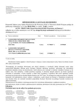1 Komornik Sądowy przy Sądzie Rejonowym dla Warszawy